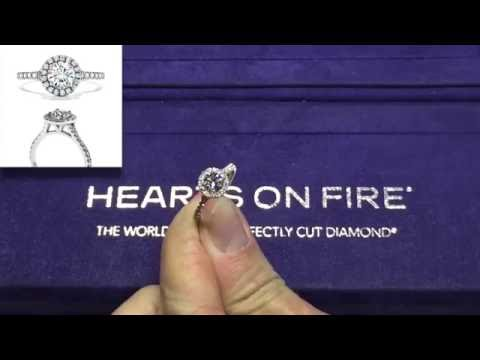 Transcend Round Halo Diamond Engagement Ring - Hearts On Fire Melbourne