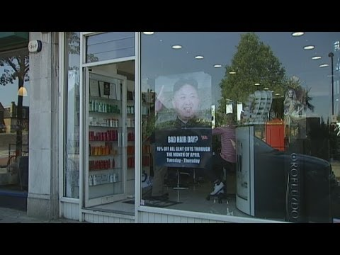 kim - Subscribe to ITN News: http://bit.ly/1bmWO8h A west London hair salon owner had a couple of surprise visitors this week when two North Korean officials turne...