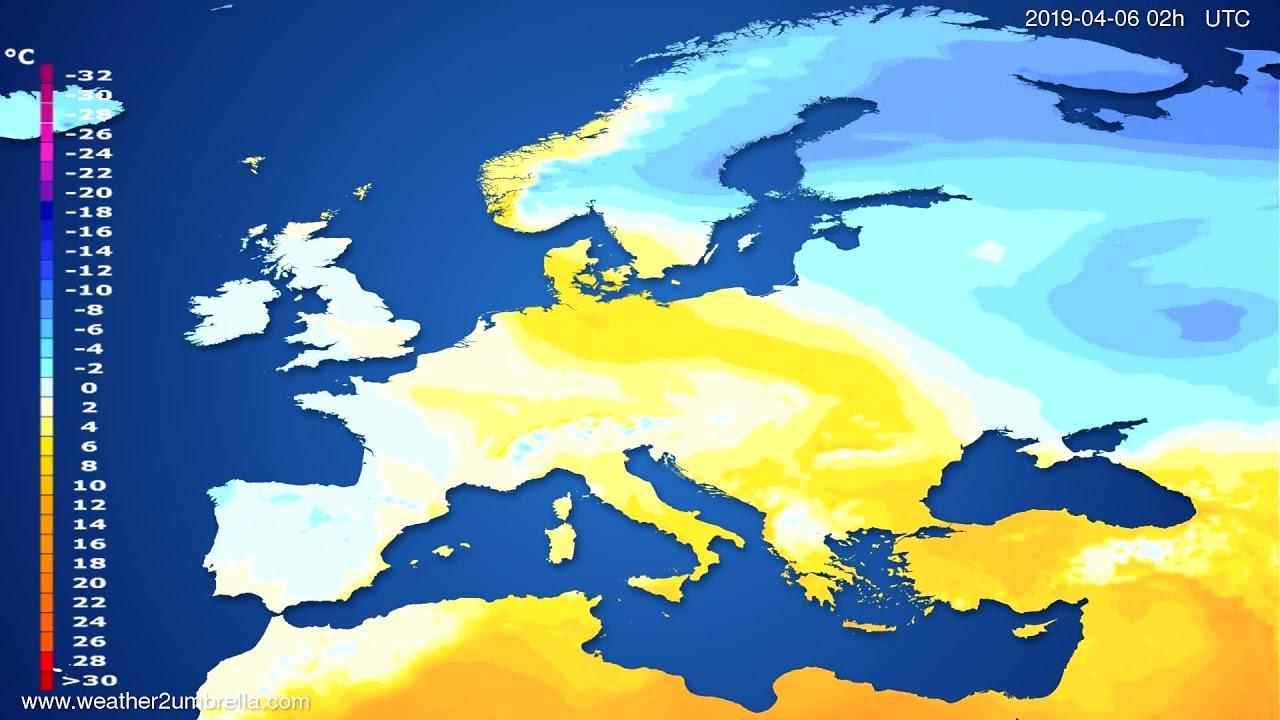 Temperature forecast Europe // modelrun: 00h UTC 2019-04-04