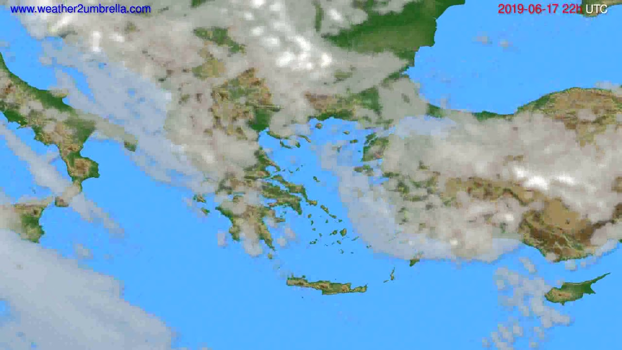 Cloud forecast Greece // modelrun: 12h UTC 2019-06-15
