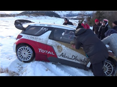 Loeb out off road during test for Monte-Carlo 2015 [HD]