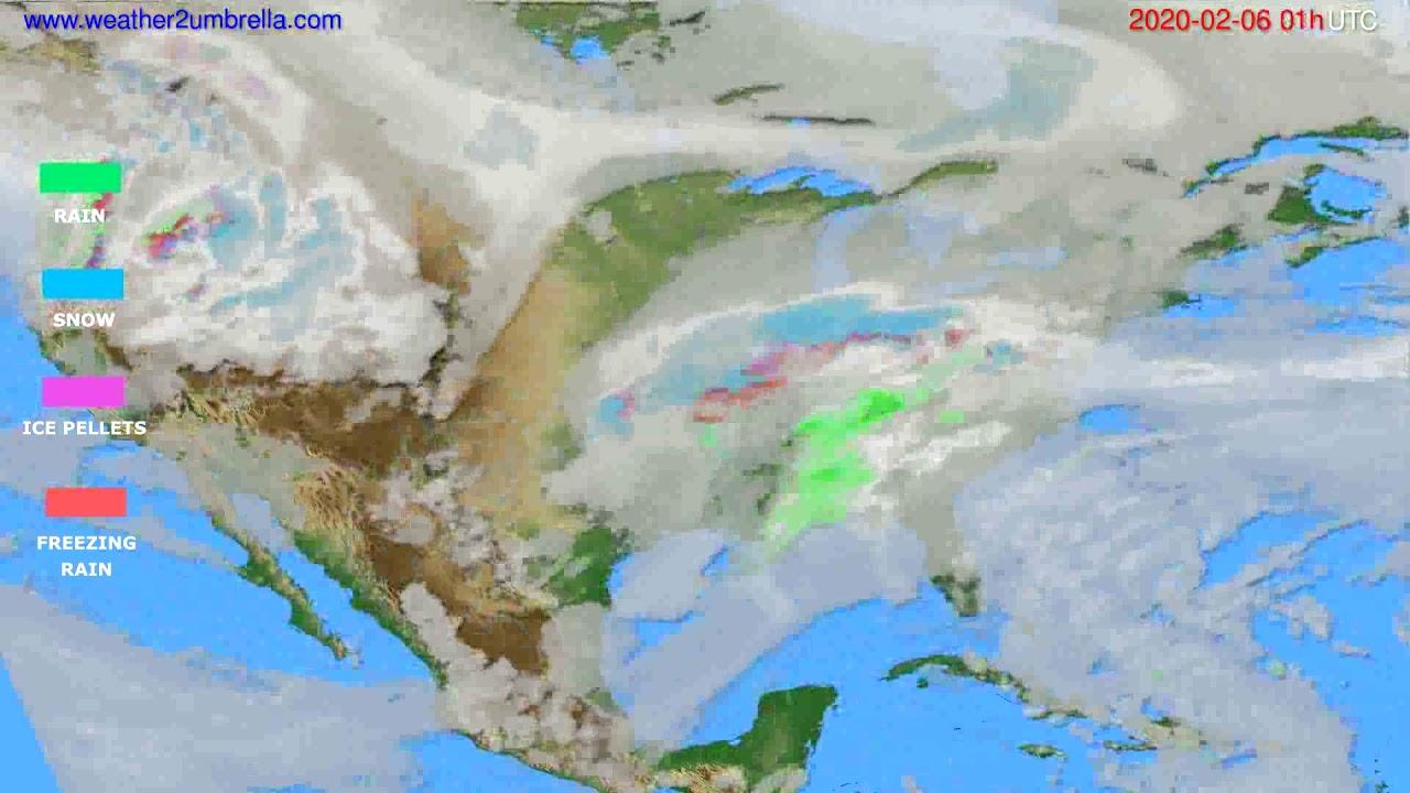 Precipitation forecast USA & Canada // modelrun: 12h UTC 2020-02-04