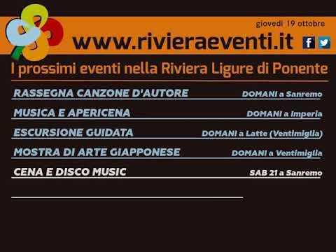 GLI APPUNTAMENTI DI RIVIERA EVENTI DI GIOVEDI' 19 OTTOBRE 2017
