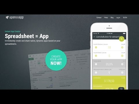 Openasapp turns Spreadsheets into Web and Mobile Apps (видео)