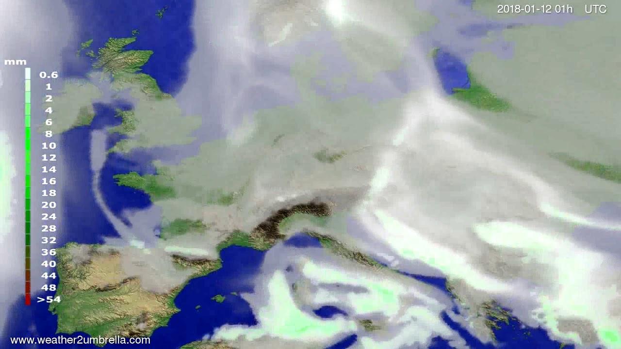 Precipitation forecast Europe 2018-01-09
