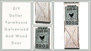 DIY Dollar Tree Farmhouse Door Wood & Galvanized Decor - Inspired / Dupe - Rustic Room / Wall Decor