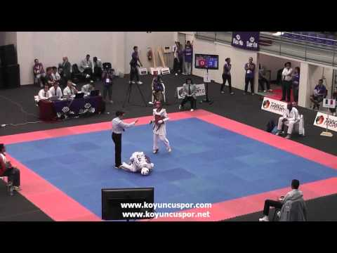 55kg Falgas Fischer (ESP) vs (FRA) Bonnet  (19th Europen Junior TKD Championships) (видео)
