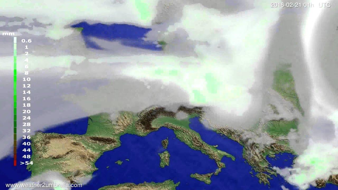 Precipitation forecast Europe 2016-02-18