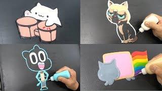 Cats Pancake Art - Bongo Cat, Nyan Cat, Gumball, Grumpy Cat