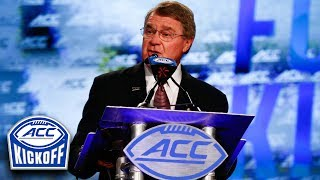 ACC Commissioner John Swofford says the conference has built a strong foundation for the future following a football season to remember. At the 2017 ACC Kickoff Thursday in Charlotte, Swofford pointed to the past accomplishments of the league to paint a supremely positive outlook for the ACC in the both the short- and long-term future.SUBSCRIBE: http://bit.ly/Oqg3iEThe ACC Digital Network (theACCDN) is a joint venture between Silver Chalice, a leading digital sports and entertainment media firm and Raycom Sports, a long-time television producer and partner of the Atlantic Coast Conference.  The cross-platform digital video network covers the spectrum of one of the nation's top intercollegiate athletic conferences, featuring both live programming and original on-demand content throughout the entire year.  All ACCDN videos are viewable on theACC.com, the ACC mobile and tablet app, as well as various streaming and connected mobile and TV devices such as Amazon Fire, Apple TV, go90TM and Roku. For more information, visit theACC.com and follow @theACCDN on Twitter, Instagram and Snapchat.Connect with the ACCDigitalNetwork Online:Visit the ACC WEBSITE: http://theacc.comVisit the ACC Facebook: https://www.facebook.com/theACC/Follow the ACCDN on Twitter: https://twitter.com/theACCDNFollow the ACCDN on Instagram: http://instagram.com/theACCDNhttp://www.youtube.com/user/ACCDigitalNetwork