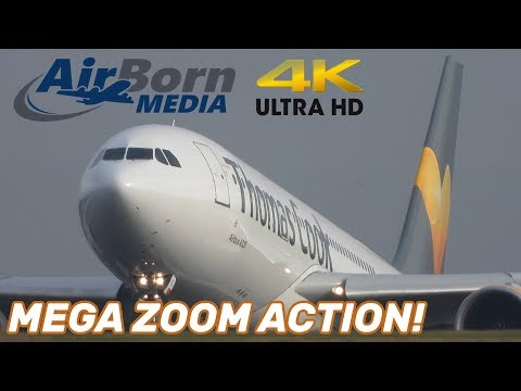 Manchester Airport 4K Plane Spotting Wet Runway Action Close Ups And Engine Thrust