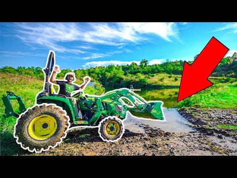 Building a BOAT RAMP for My BACKYARD POND!!! (Tractor Got Stuck in Pond)