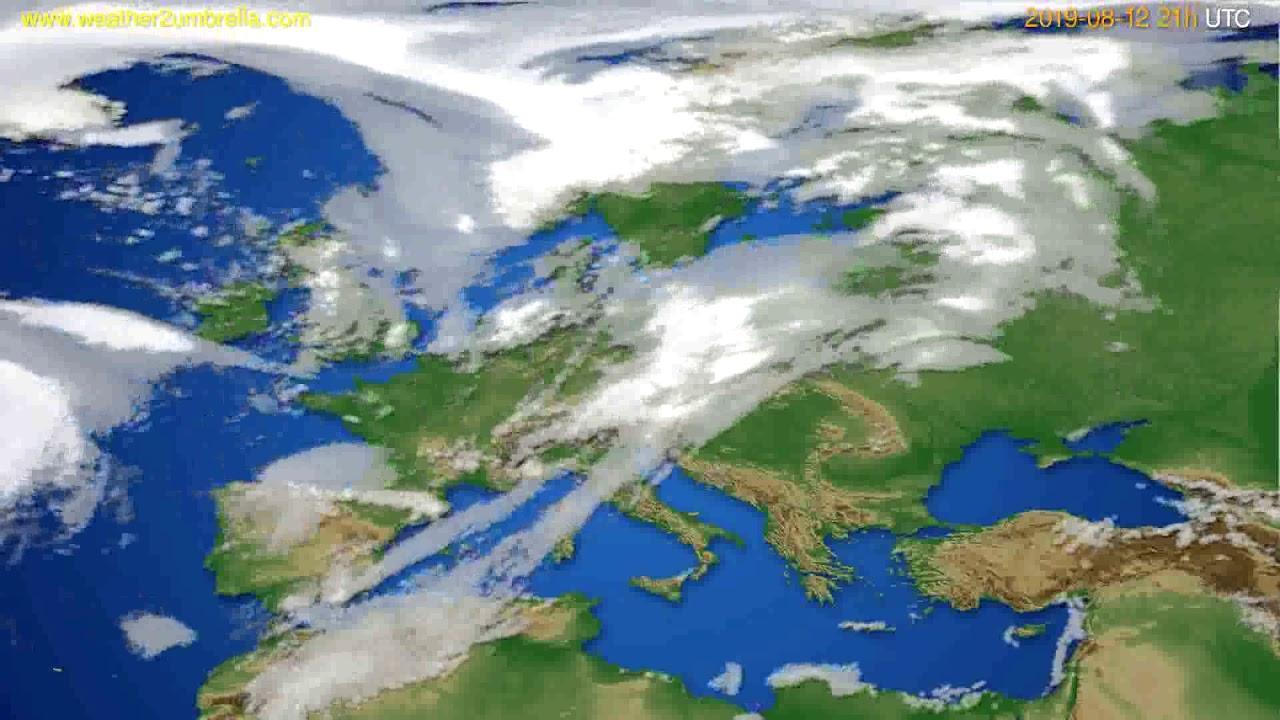Cloud forecast Europe // modelrun: 00h UTC 2019-08-11