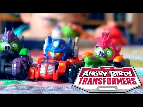 Angry Birds Transformers Toys - Optimus Prime Bird Raceway Unboxed (видео)