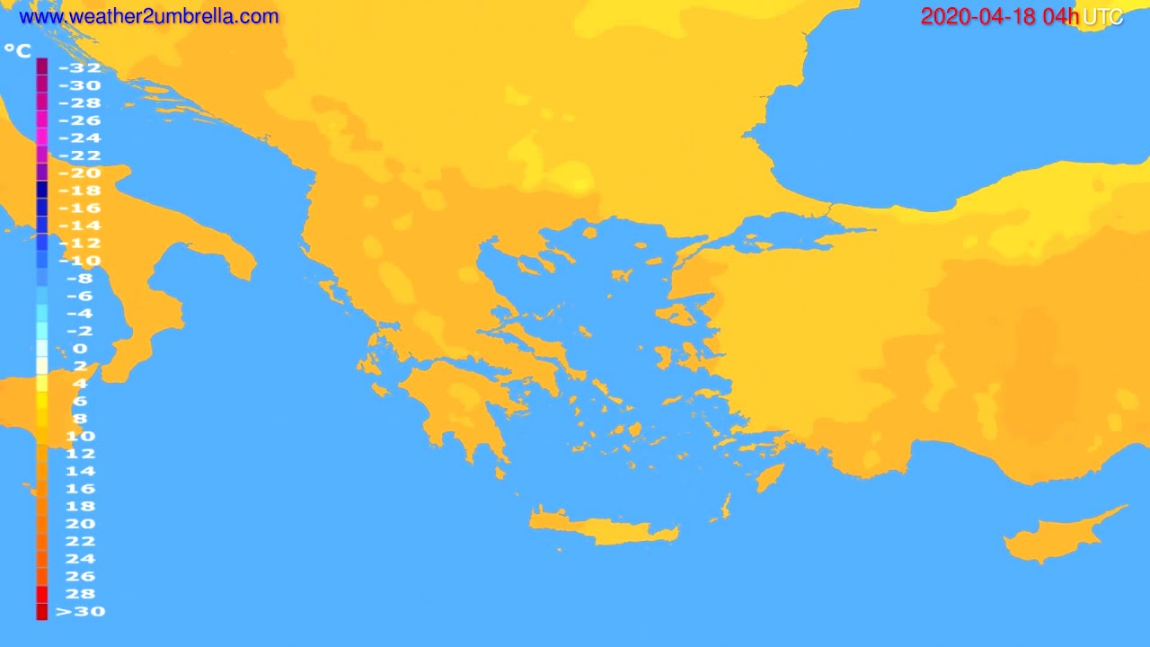 Temperature forecast Greece // modelrun: 12h UTC 2020-04-17