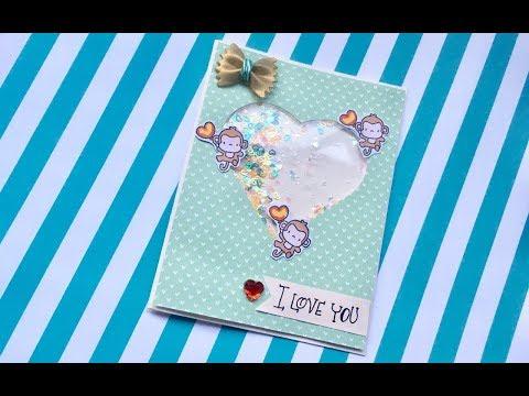 Tarjetas de amor - DIY:  Tarjeta Shaker sencilla San Valentin/ 14 de febrero / shaker card / cardmaking