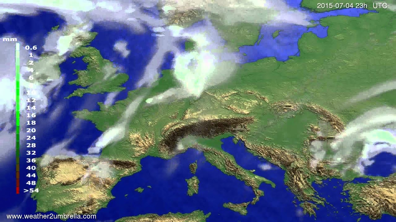 Precipitation forecast Europe 2015-07-02