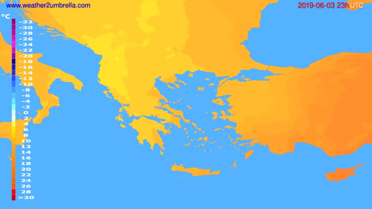 Temperature forecast Greece // modelrun: 12h UTC 2019-05-31