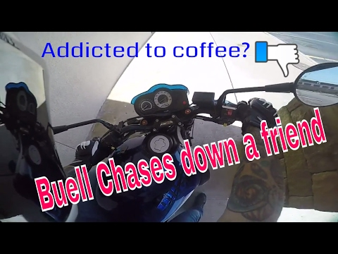 Buell XB12 chases friend - addicted to coffee?