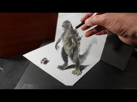 Video Drawing 3D GODZILLA - How to Draw 3D MONSTER - Trick Art on Paper - VamosART download in MP3, 3GP, MP4, WEBM, AVI, FLV January 2017