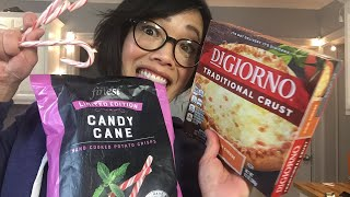 Live CANDY CANE PIZZA & Candy Cane Potato Chips Taste Test