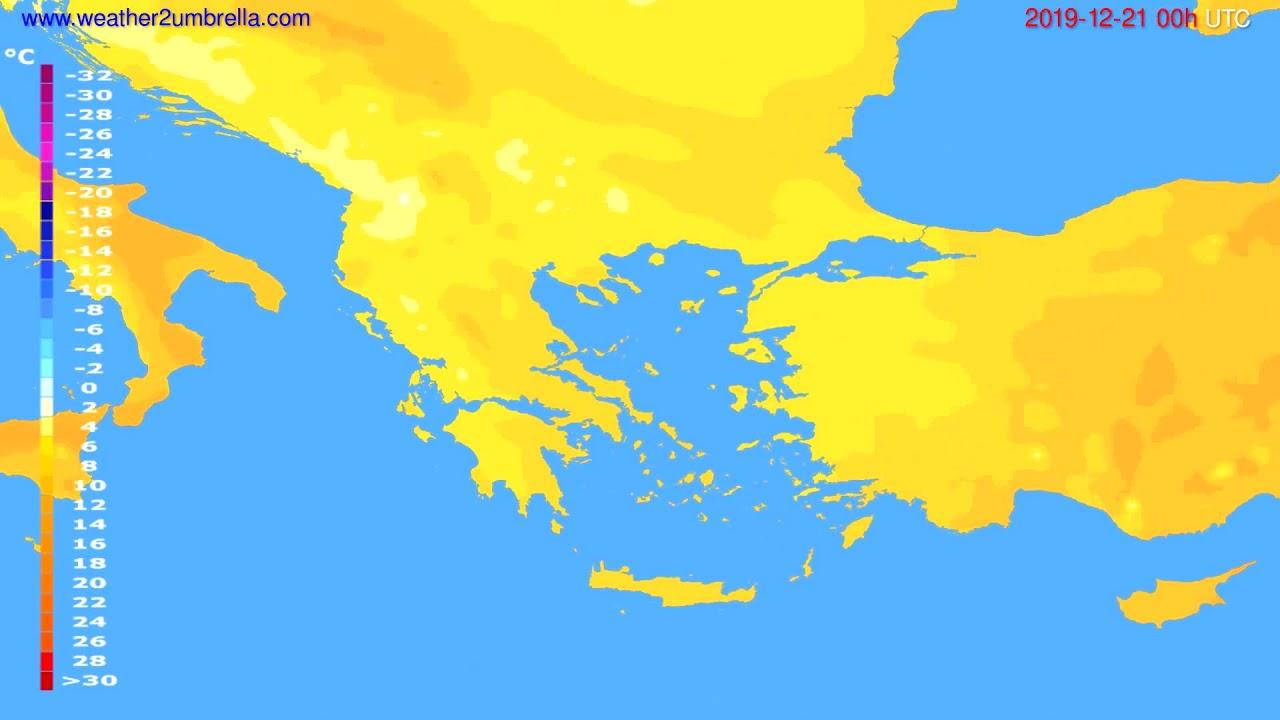 Temperature forecast Greece // modelrun: 00h UTC 2019-12-20