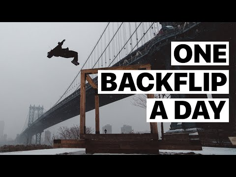 backflip - My Dad bet me $100 that I couldn't do one backflip (backflip, gainer, wallflip, etc.) each day of 2011.. HUGE thanks to everyone (and Shaina, I guess) who he...