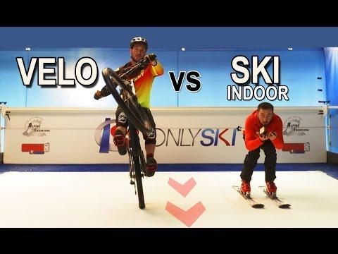 VELO SUR UN TAPIS ROULANT GEANT ! (SKI Indoor VS VELO) (видео)