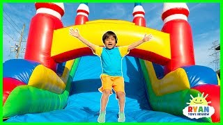 Ryan vs Mommy Bounce House Obstacle Course!!!