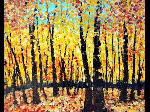 Acrylmalerei Techniken –  Tupftechnik –  Herbstwald