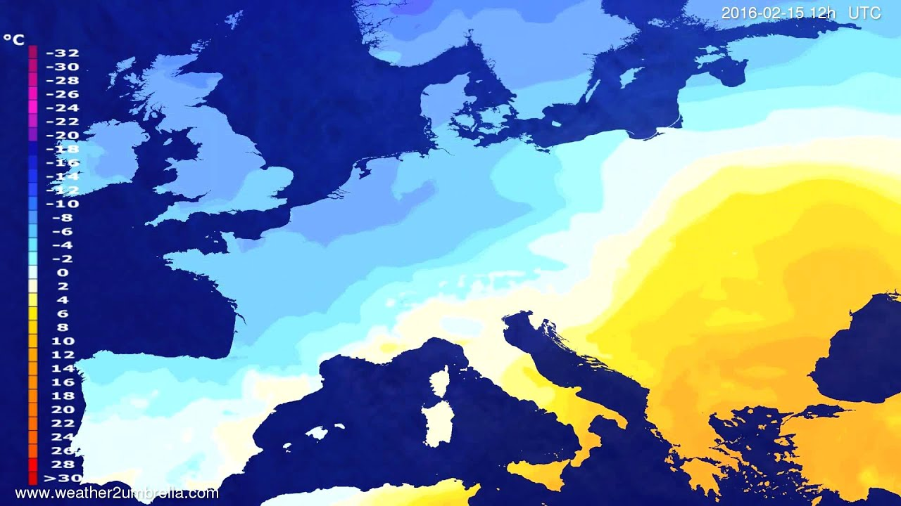 Temperature forecast Europe 2016-02-13