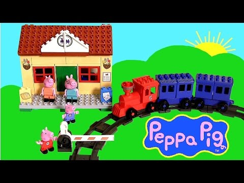 Train - Disney Collector presents Peppa Pig Train Station. This is a construction set that includes railroad, train and wagon, the garden, the train station, trees and figures with 95 building pieces...