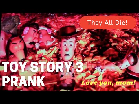 Son pranks mom by editing Toy Story 3 to look like all the toys die (skip to 4:28 for reveal/reaction)