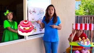 Jannie Pretend Play Birthday Cakes Drive Thru Toy Store for Kids