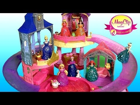 New Glitter Glider Castle Playset 7 Disney Princess MagiClip Dolls Flip 'n Switch Disneycollector