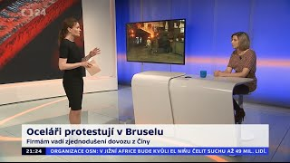 Oceláři protestují v Bruselu