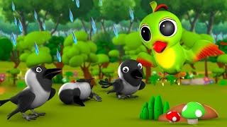 The Crows and Parrot 3D Animated Hindi Moral Stories for Kids शैतान कौआ और चिड़िया कहानी Tales