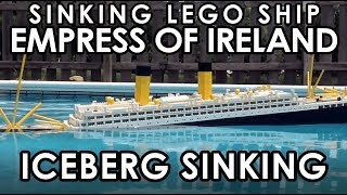 """A LEGO model of the RMS Empress of Ireland Sinking.  This is showing a hypothetical scenario where'st the ship had struck an iceberg like the RMS Titanic.(ノ◕ヮ◕)ノ*:・゚✧ ✧゚・: *ヽ(◕ヮ◕ヽ)This model is 6'2"""" long and weighs 23 pounds. Over 5,000 bricks were used to make this model. It is 246 LEGO studs long and 28 studs wide.****FOR THE HISTORY BUFFS THIS IS NOT HOW THE SHIP.  I AM WORKING ON MAKING A VIDEO SHOWING THE EMPRESS OF IRELAND SINKING PROPER; THINK OF THIS AS A TEASE****3D  LDD  MODEL:http://www.hagermanships.com/empress_of_ireland.htmlSECOND  CHANNEL:https://www.youtube.com/channel/UCUxwX501T0uNFESlHXLw0SQCONSTRUCTION  TIME-LAPSE:https://www.youtube.com/watch?v=pKB4sYMW2oI__GO PRO FOOTAGE__BOW CAM:https://www.youtube.com/watch?v=NSlJUYx6jAsSTERN CAM:https://www.youtube.com/watch?v=EmIk6p2SV9IBRIDGE CAM:https://www.youtube.com/watch?v=TSbUhbN8GugAFT CAM:https://www.youtube.com/watch?v=cmw5SiY1P7UThis ocean liner sank in 1914 in the Saint Lawrence River after the coal carrying ship, the SS Storstad, rammed into the Empress's starboard side of the hull roughly around midship. The Empress was immediately awashed with seawater, and quickly developed an extreme starboard list. Aided by open portholes and watertight doors that had to be manually closed, the ship foundered in roughly only fifteen minutes, taking with her 1,012 of the 1477 souls aboard."""