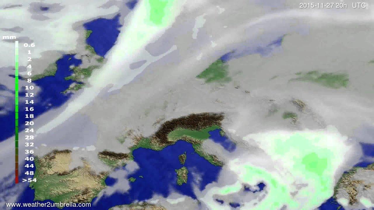 Precipitation forecast Europe 2015-11-25