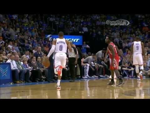 Patrick Beverley goes for steal after timeout, Westbrook loses it