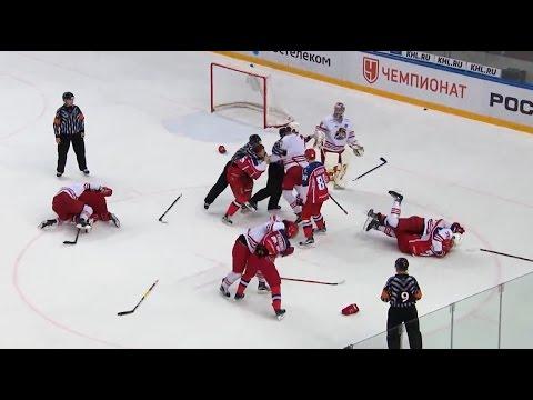 Major brawl at CSKA - Jokerit game (видео)