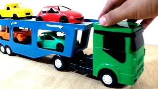 Caminhão cegonha de brinquedo com carrinho de brinquedo - Aprender cores para crianças