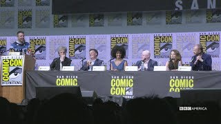 "In this highlight from the Doctor Who Hall H panel at San Diego Comic-Con 2017, Peter Capaldi and Steven Moffat welcome new Doctor Jodie Whittaker to the show. Subscribe now: http://bit.ly/1aP6Fo9The Doctor (Peter Capaldi) is an alien Time Lord from the planet Gallifrey who travels through all of time and space in his TARDIS with his companion. Instead of dying, the Doctor is able to """"regenerate"""" into a new body, taking on a new personality with each regeneration.Twitter: http://twitter.com/doctorwho_bbcaFacebook: http://www.facebook.com/DoctorWhoTumblr: http://DoctorWho.tumblr.comInstagram: http://instagram.com/doctorwho_bbcaSnapchat: http://snapchat.com/add/bbcamerica_tv"