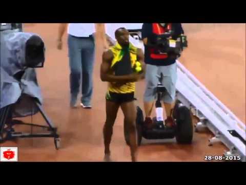 usain bolt investito da un folle cameraman ai mondiali di atletica 2015