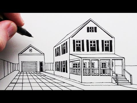 How to Draw a House and Porch in 1-Point Perspective (видео)