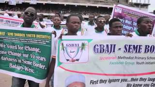 Video Protest of Gbaji-Seme Border Youth Initiative (GSBYI) at the Tafawa Balewa Square (TBS), Lagos to celebrate the inauguration of Akinwunmi Ambode as the 14th Governor of Lagos State,it was tears for youths of Gbaji-Seme, a border community in Badagry West Local Council Development Area of Lagos State, as they lamented lack of electricity for 16 years.  The affected  Villages are Aivoji, Oglogbo, Gbethrome, Asakpo, Boglo, Fanuvi, Yard, Ashipanu, Kenwewemeh, Pengbo, Bapo, Azangbeme, Aketegbo, Wesere-Topa, Hovemeto, Tota, Shito, Gbegbome, Petimeh, Falola, Ozinigbo, Kparada, Akpato, Whaigbemeh, Akoro-Koji, Ogorin-Beach, Thosivi and Yenawa among others. It's Nigeria's freshest Democracy .  ‪#‎ThinkBadagry‬ ‪#‎mbmf‬ ‪#‎Africa‬ is the ‪#‎future‬.‪#‎ThinkLagos‬ ‪#‎MyBadagryMyFuture‬ ‪#‎Networking‬ ‪#‎ThinkOgun‬ ‪#‎ThinkNigeria‬ ‪#‎ThinkAfrica‬ ‪#‎leavenoonebehinde‬ ‪#‎LetsAchieve‬.