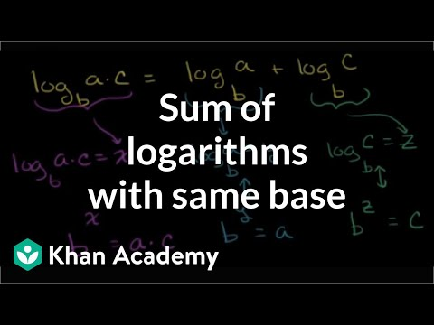 Using The Logarithmic Product Rule Video Khan Academy