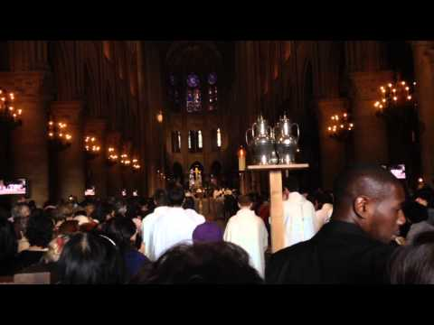Easter Catholic Church Service Mass Notre dame de Paris Cathedral 2014 LIVE Beginning Song Sermon