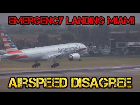 American Airlines Emergency Landing Airspeed Pitot Disagree Miami Airport