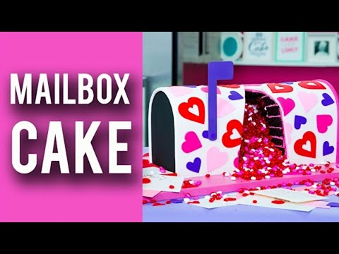 How To Make A VALENTINES MAILBOX CAKE! Rich Chocolate Cake Overflowing With Candy Hearts!